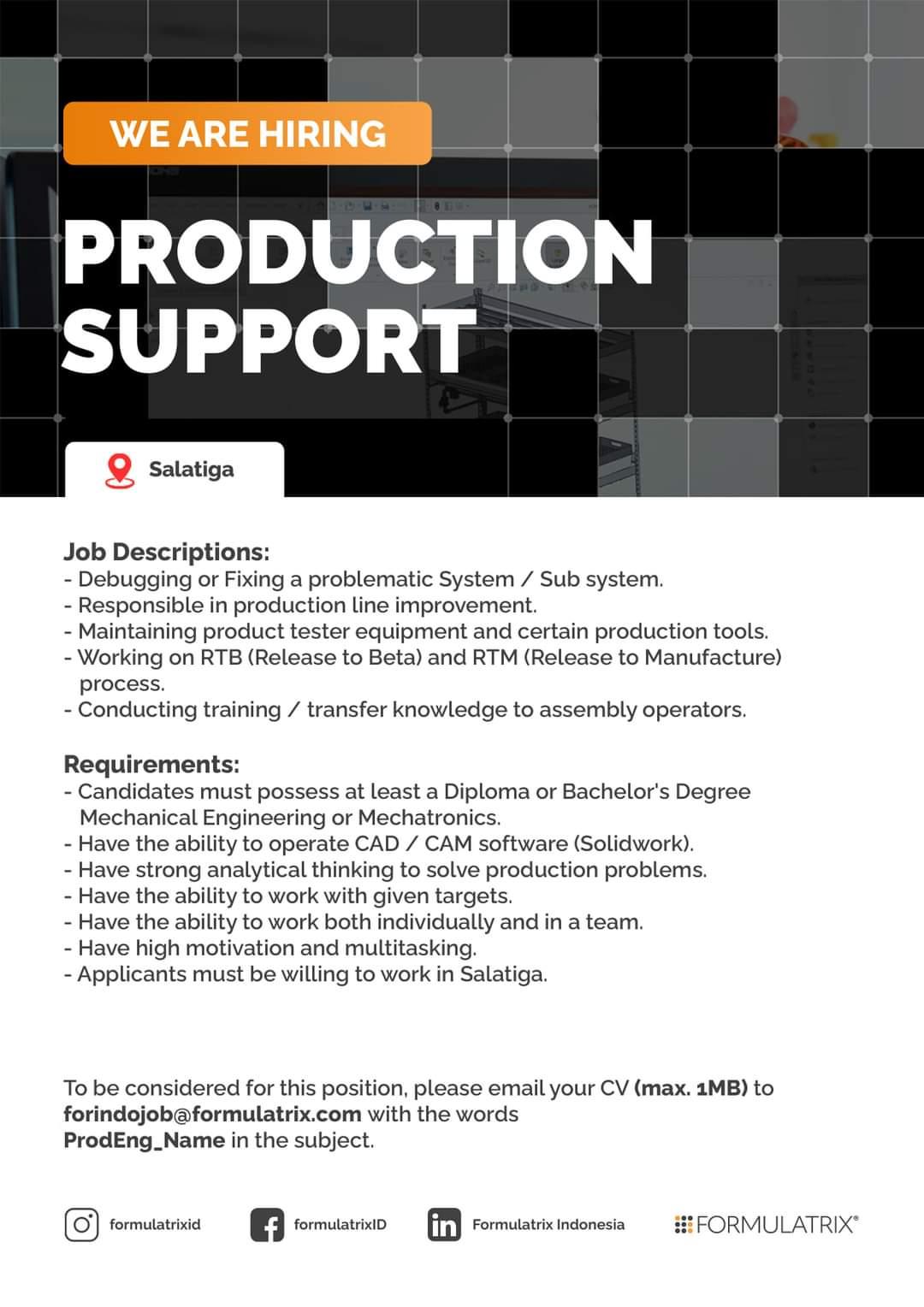 Lowongan Salatiga Formulatrix Indonesia Untuk Posisi Production Support, Elecrtonic Assy Operator & Injection Operator