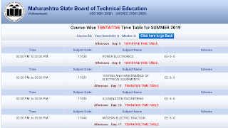 Msbte timetable