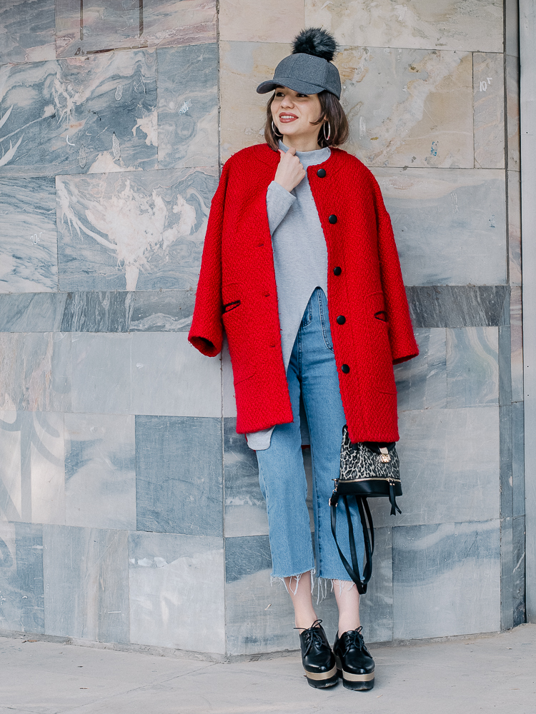 fashion blogger diyorasnotes red coat asos backpack cropped jeans oxford zaful