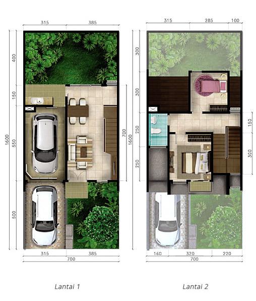 Denah rumah minimalis ukuran 7x16 meter 2 kamar tidur 2 lantai