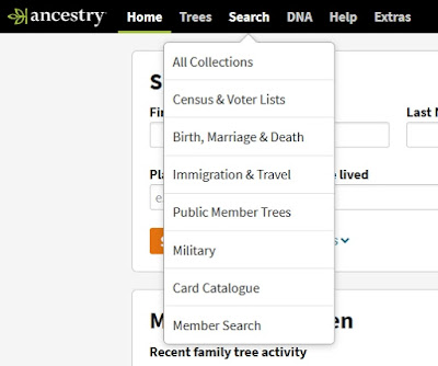 Screen capture from Ancestry.ca showing the Card Catalogue item in the Search options.