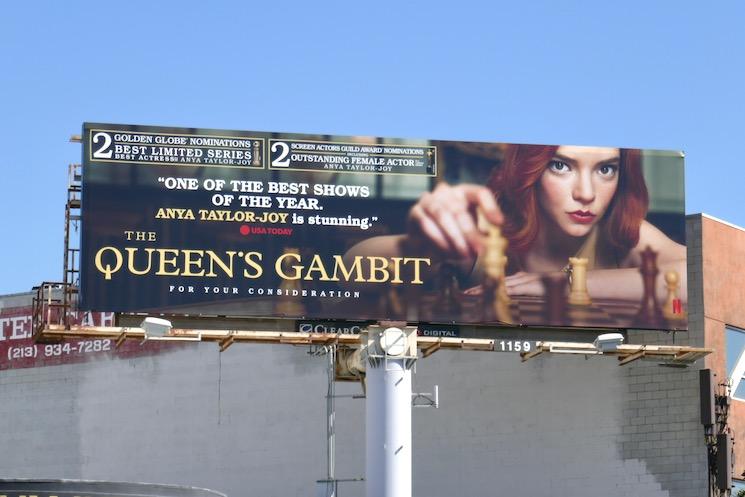Queens Gambit Golden Globe billboard