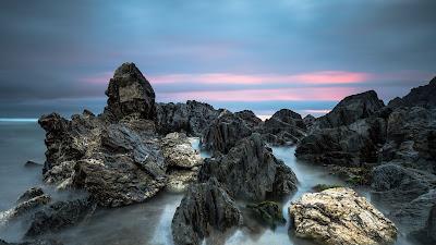 HD wallpapers stones, rocks, sea, sunset, nature