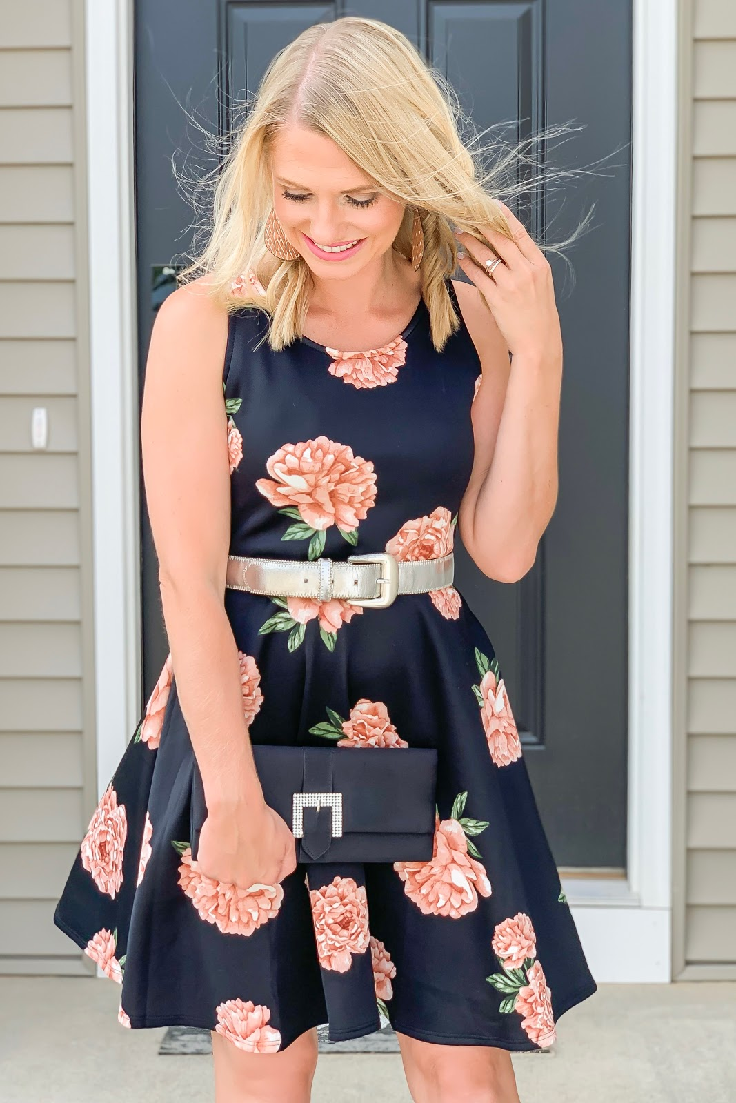 Floral fit and flare dress || Wedding guest dress