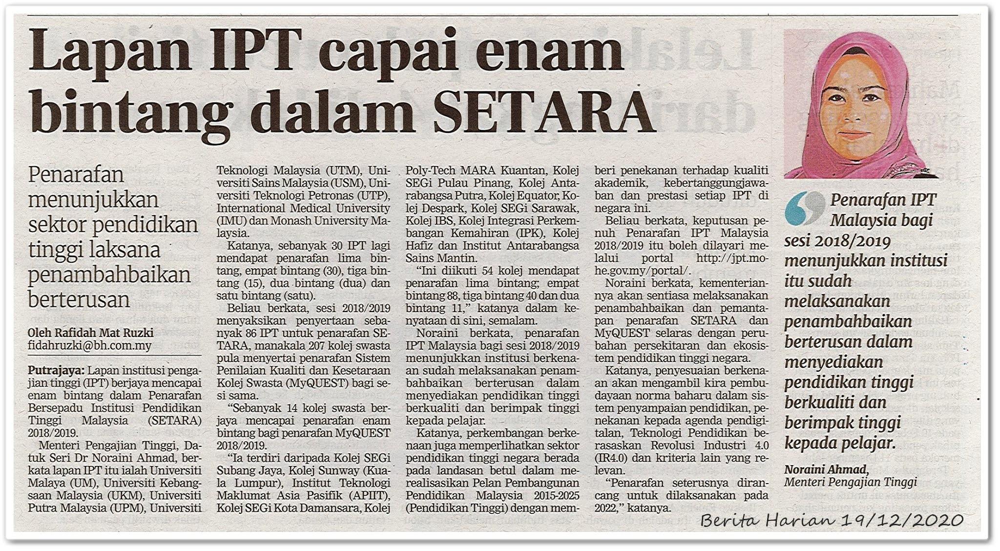 Lapan IPT capai enam bintang dalam SETARA - Keratan akhbar Berita Harian 19 Disember 2020
