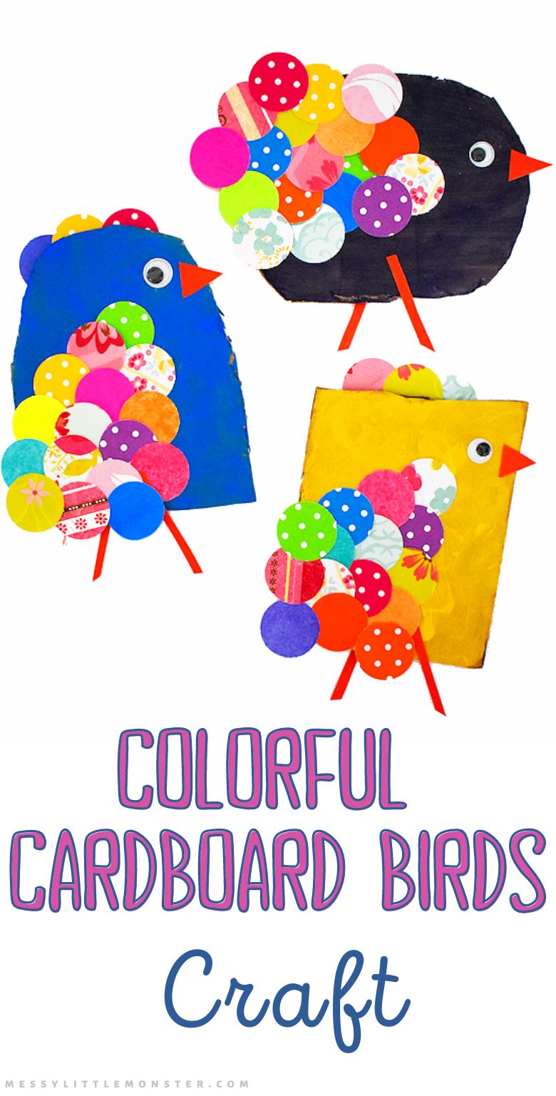 Bird craft for kids. Easy cardboard craft.