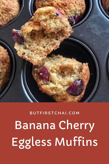 Banana Cherry Eggless Muffins