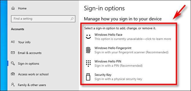 خيارات تسجيل الدخول إلى Windows Hello كما هو موضح في إعدادات Windows 10.