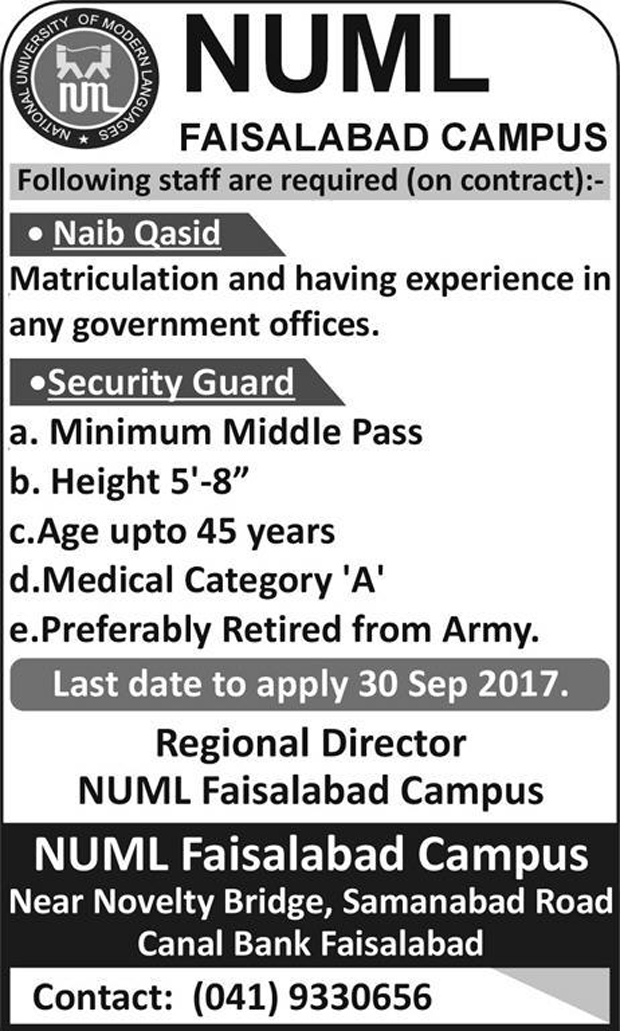 NUML Jobs In National University Of Modern Languages Faisalabad Sep 2017