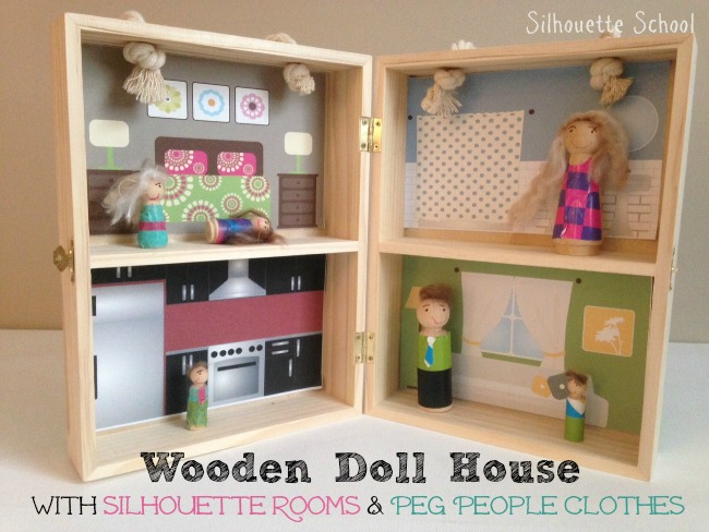 Wood doll house and peg people with silhouette clothes decor free doll house wood silhouette peg people clothes silhouette studio free cut fandeluxe Gallery