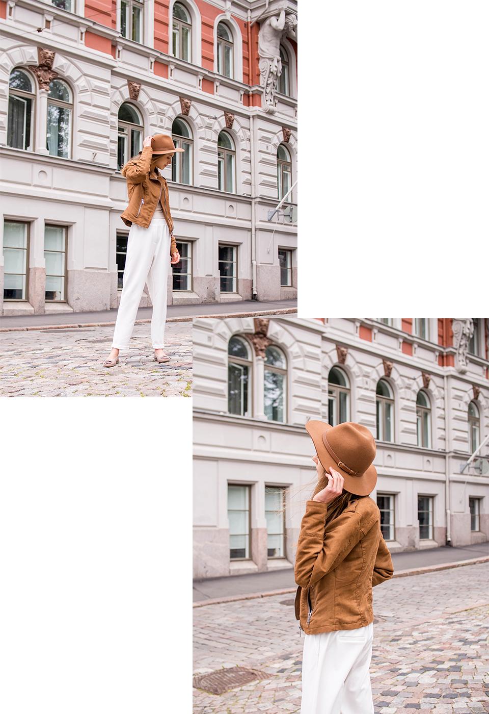 Neutral toned outfit with white trousers, tan suedette jacket and fedora hat - Neutraalit värit, asuinspiraatio, valkoiset housut, ruskea tekomokkatakki, fedora-hattu
