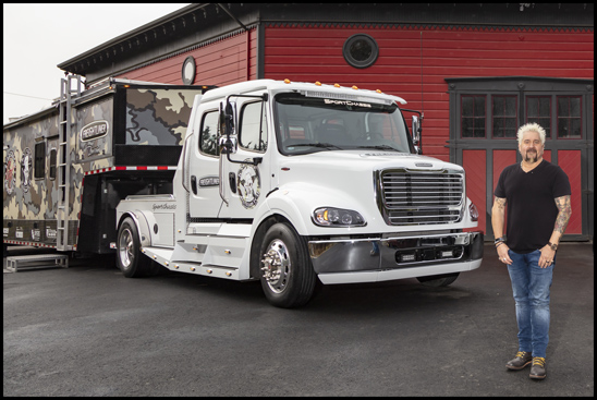 Guy Fieri with his customized SportChassis Freightliner M2 112