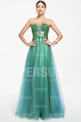 robe de bal vert en strass