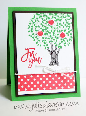 Stampin' Up! Thoughtful Branches Summer Apple Tree Card + VIDEO with 12 more card ideas #stampinup #thoughtfulbranches www.juliedavison.com