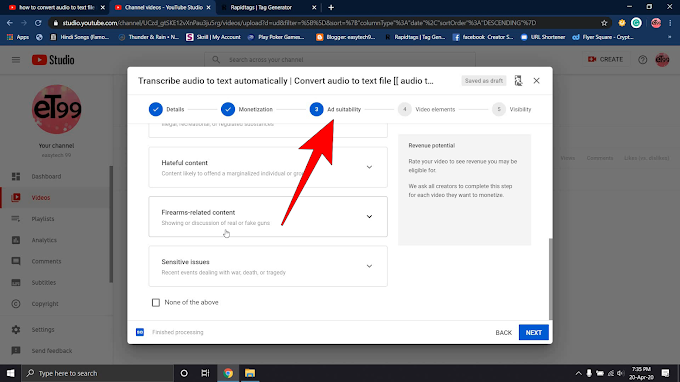 Ad Suitability - How To Upload Video On YouTube - Latest Update 2020