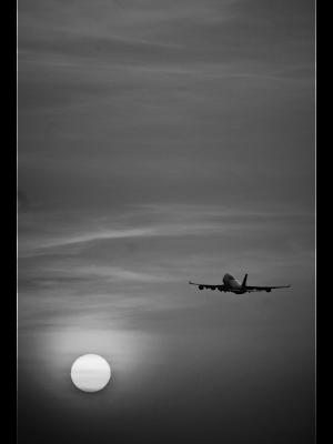 Airplane and sun in sky. Free image via Pixabay.