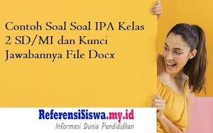 Contoh Soal Soal IPA Kelas 2 SD/MI dan Kunci Jawabannya File Docx