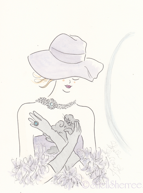 Fashion and Fluffballs illustration: Muddled Lilac and Vintage Vixens  © Shell-Sherree