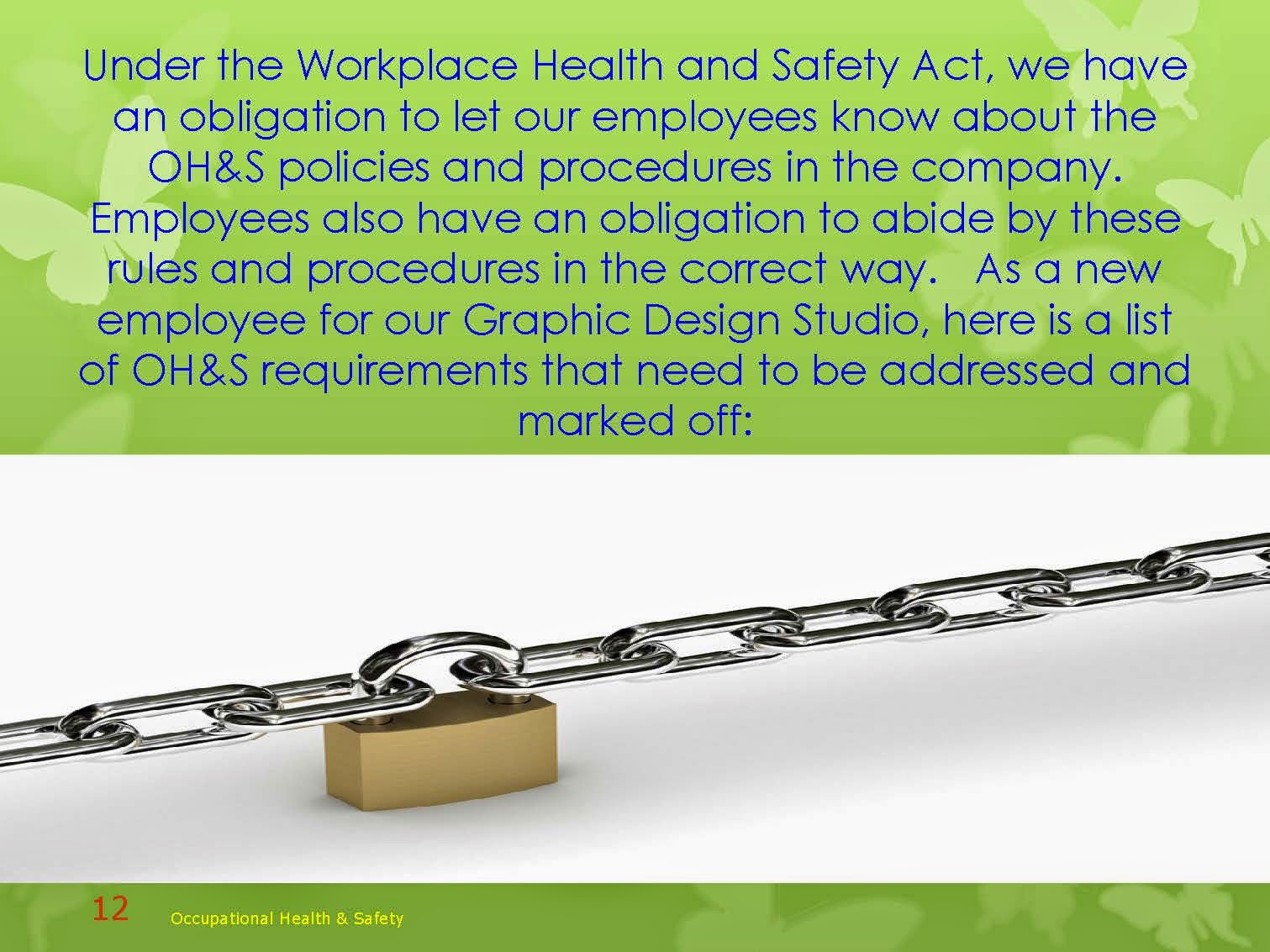 OCCUPATIONAL HEALTH AND SAFETY POLICIES