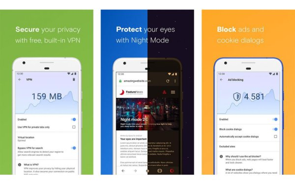 best browser with VPN for android Opera