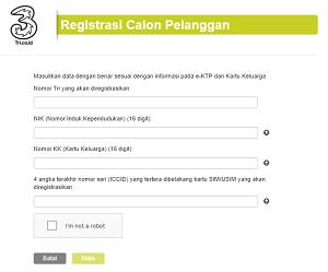 Halaman Registrasi Calon Pengguna Tri