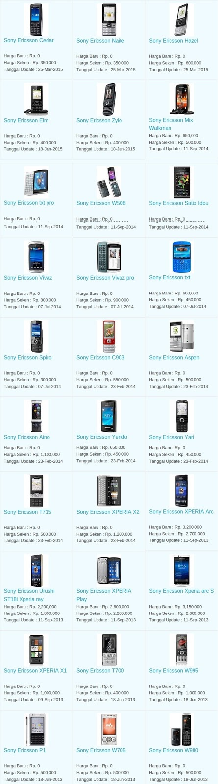 Daftar Harga Hp Terbaru Sony Ericsson Mei 2016