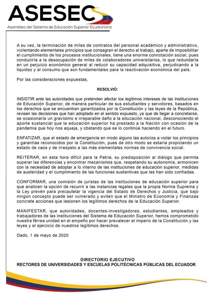 cierre de universidades públicas en ecuador 2020 mayo junio