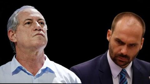 Após irmão ser baleado, Ciro ataca critica de Eduardo Bolsonaro que rebate