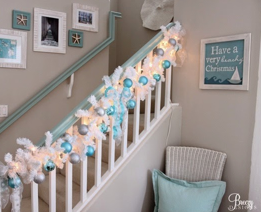 White Christmas Garland Staircase Blue Ornaments