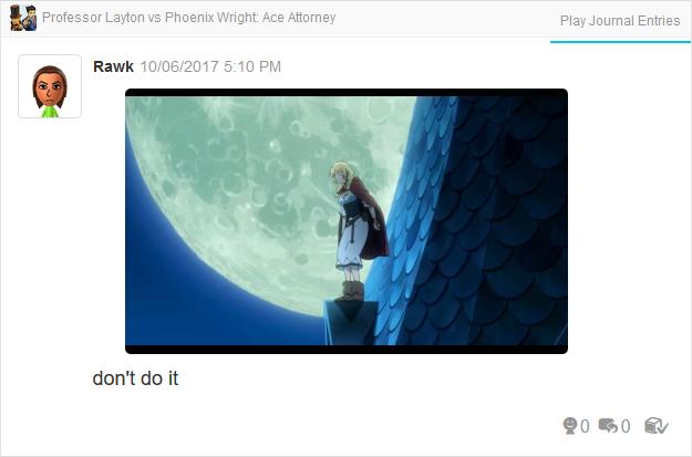 Professor Layton vs. Phoenix Wright Ace Attorney Espella going to jump off roof