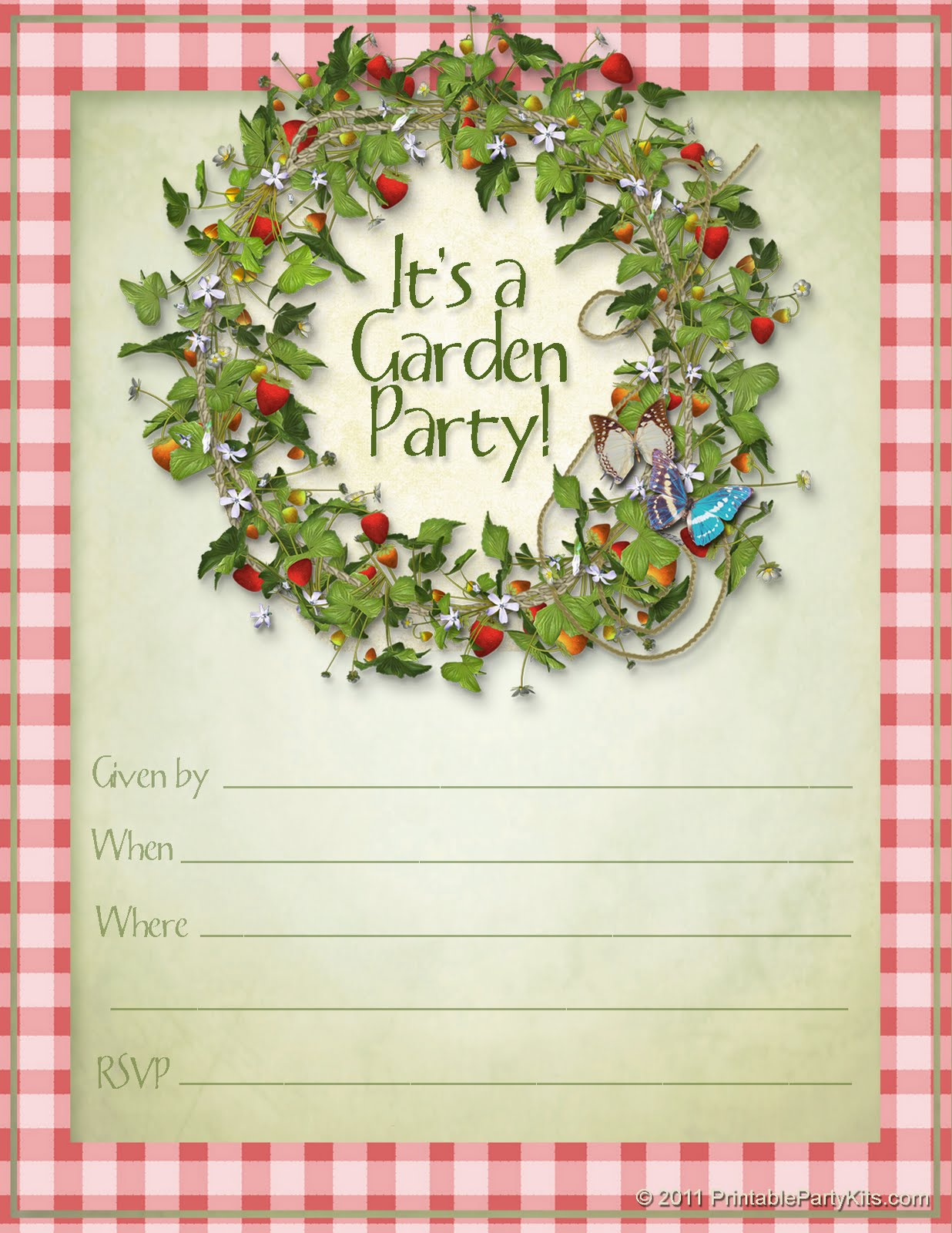 Party Planning Center Free Printable Summer Garden Party Invitations