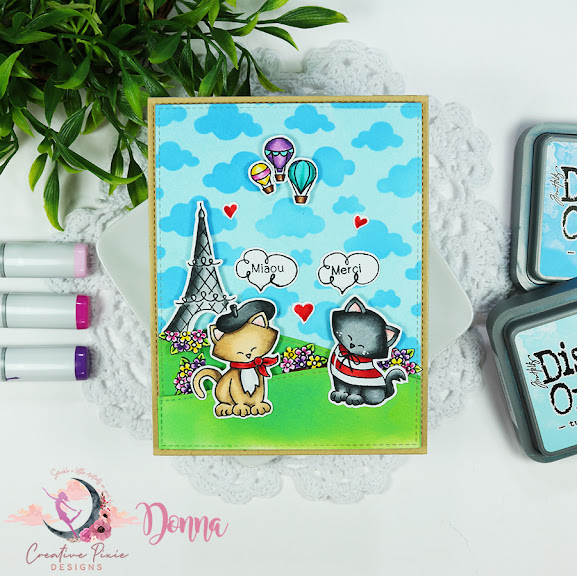 Merci by Donna Newton Dreams of Paris and Cloudy Sky by Newton's Nook Designs; #inkypaws, #newtonsnook, #cardmaking