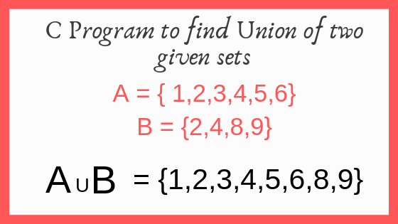 C Program With Algorithm to Find Union of Two Given Sets or Array