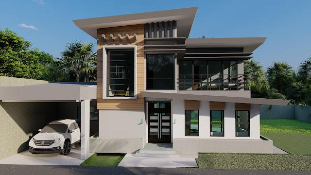 Desain Rumah 2 Lantai dengan atap setengah pelana, Bontang
