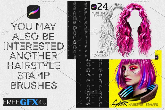 Hairstyle Stamp Brushes Procreate