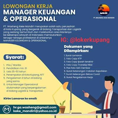 Lowongan Kerja PT Washeng Keke Mandiri Sebagai Manager Keuangan & Operasional