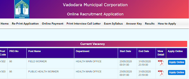 VMC Gujarat Field Worker Vacancy 2020