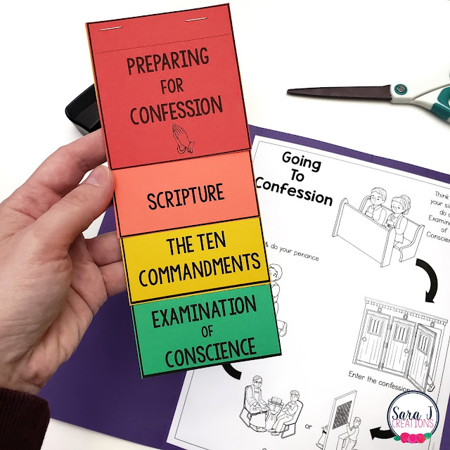 Help your students prepare for their First Reconciliation with this confession lapbook. Guide them through the necessary steps in an organized way.