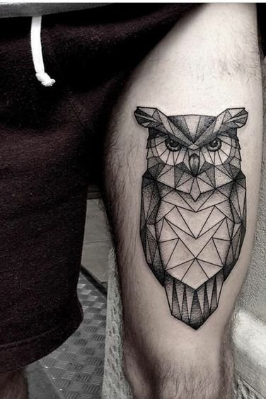 Geometric Owl Tattoo on Thigh