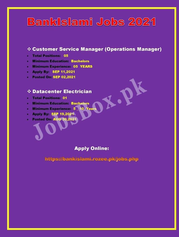 BankIslami  Latest Jobs 2021 –  Online Apply at http://bankislami.rozee.pk