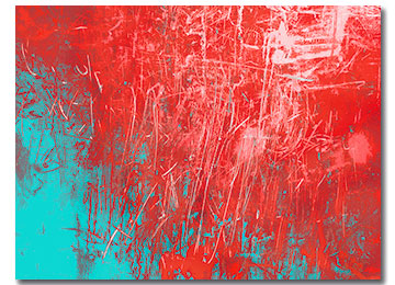urban art, modern abstract, abstract art, canvas art, red, pink, aqua blue, wall art, Sam Freek, urban abstract, urban decay, industrial abstract art,