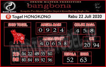 Prediksi Bangbona HK Rabu 22 Juli 2020