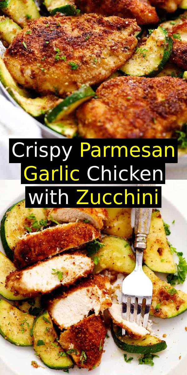 Crispy Parmesan Garlic Chicken with Zucchini  | This is a fantastic one pan meal recipe that the family will love!  #onepan #meal #chicken #easydinner #dinner #parmesan