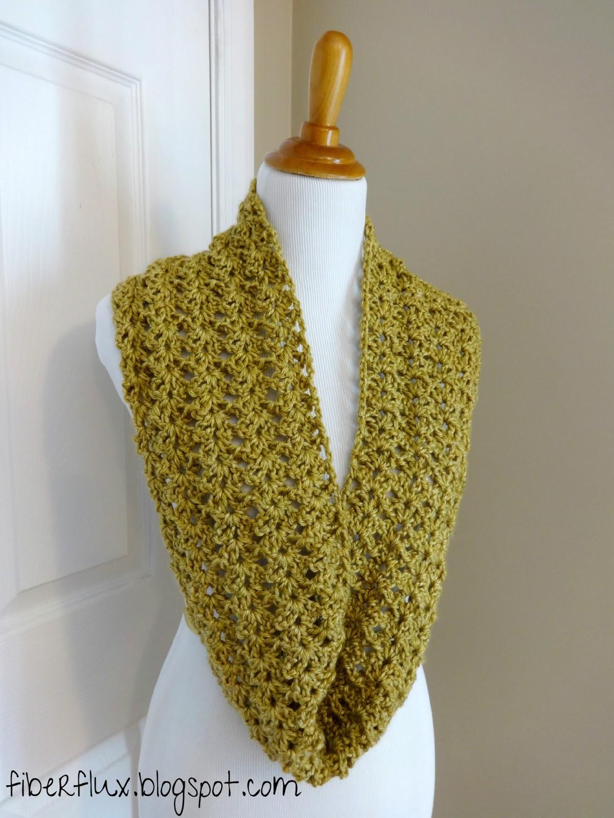 Fiber Flux Free Crochet Pattern Gold Leaf Infinity Scarf
