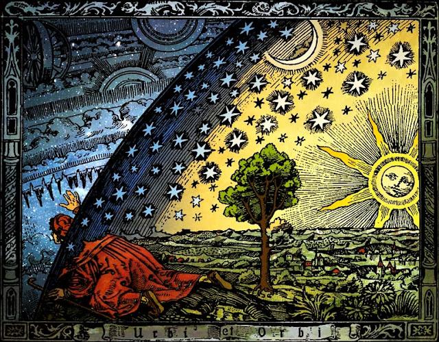 Imagem ilustrando conceitos alquímicos, contendo um sol e estrelas, uma árvore e casas dentro de um globo, um homem vestido de vermelho tenta sair desse globo para a parte de fora onde há engrenagens, uma ilustração abstrata contendo simbologia da alquimia.