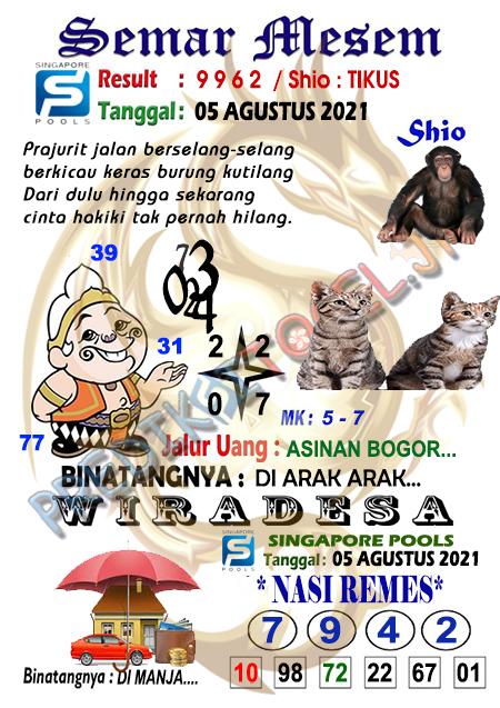Syair Semar Mesem SGP Rabu 04-08-2021