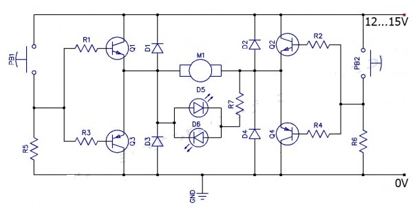 H bridge Control the Direction of Rotation for DC motor Wiring