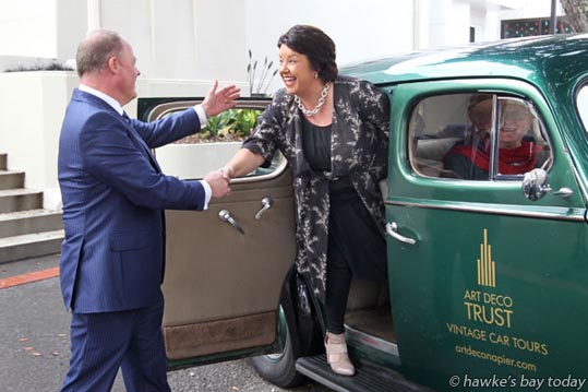 L-R: Craig Foss, National MP, Tukituki; Paula Bennett, National MP, associate minister of tourism, arrived at MTG Hawke's Bay, Napier, to speak to members of the Hawke's Bay tourism industry, in a 1938 Packard 1600, driven by James Francis, Taradale, Napier photograph