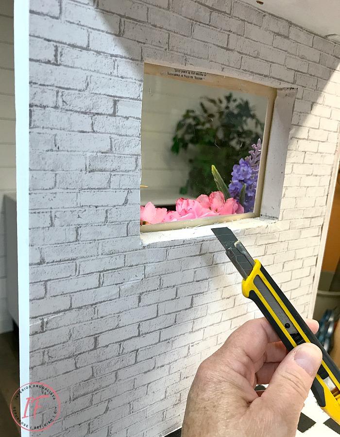 DIY Dollhouse Bookcase Decoupaged Wall Window Opening