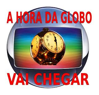 Logo da Globo com relógio no centro: a hora da globo vai chegar